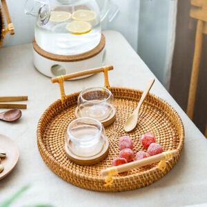Rattan Storage Tray With Handle Round Tray Wicker Basket Bread Fruit Storage