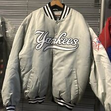 VTG Starter MLB NY New York Yankees Nylon Satin Bomber Jacket Gray Rare 2XL