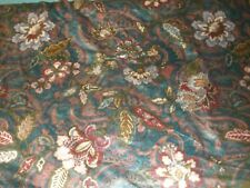 """2 YD by 54"""" 1986 interior vintage Floral navy Maroon Flowers scotchguard fabric"""