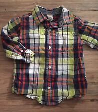 Gymboree Flight School Boys Long Sleeve Button Up Shirt Size 3T Orange Blue