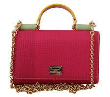 DOLCE & GABBANA Bag Purse Sicily VON Pink Green Leather Hand Phone RRP $740