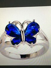 BUTTERFLY RING LONDON BLUE TOPAZ STERLING 4.95 T.C.W. SIZE 8/9/10