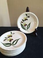"SET OF 9 Blue Ridge Southern Pottery SPRAY 6-1/4"" Bread Plates; EUC!"