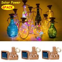 6 Pack LED String Light Solar Powered Wine Bottle Cork Lights Wedding Xmas Decor