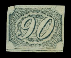 BRAZIL 1844 INCLINADOS 90reis black - Type IIa Sc # 10 mint MH VF - sheet bottom