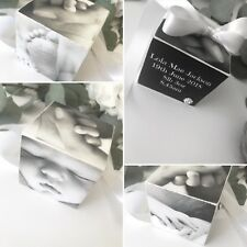 Personalised Solid Wood Photo Cube Gift Baby Family Gift Keepsake P563