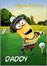 MInion Golf Golfer Birthday Card A5 Personalised with own words