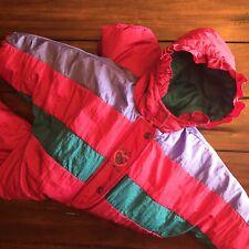Vtg OshKosh Baby BGosh 18 Month Snowsuit 90s Pink Purple Teal Hooded Coat Girls