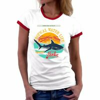 Cannibal shark Funny Ringer T-Shirts Women top Cotton Short Sleeve Summer tee