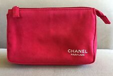 CHANEL PARFUMS Ultrasuede Faux Suede Red Fabric Cosmetic Case Unused NEW!