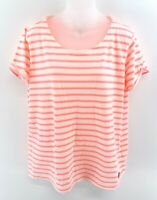 SUPERDRY Womens T Shirt Top L Large White Pink Stripes Cotton & Polyester