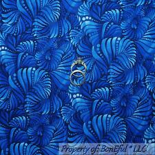BonEful Fabric FQ Cotton Quilt Navy Blue Tone Tonal Flower Leaf Calico Small Dot