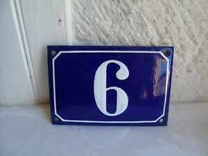 French porcelain enamel blue and white authentic house number  6
