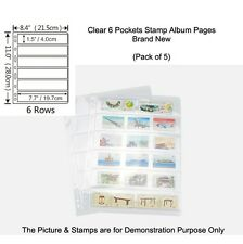 NEW 9-hole SINGLE SIDED 6 POCKETS CLEAR STAMP & BANKNOTE ALBUM Pages Pack of 5