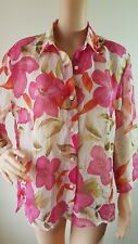 YARRA TRAIL Ladies Pink Floral Sheer Long Sleeve Top Shirt Size: 12 EUC