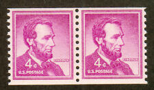 USA Postage Pair 2 Stamps 1958 Abraham Lincoln Scott# 1058 MNH