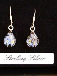 Sterling Silver Real Flower Earrings