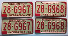 Nebraska 1972 HAMILTON COUNTY CONSECUTIVE NUMBER License Plate PAIRS - SUPERB