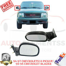 Manual Side View Mirrors LH + RH Pair For S10 Pickup 1994-1997/ Blazer 1995-1998