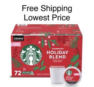 Starbucks Holiday Blend Medium Roast Ground Coffee K-Cup Pods 72 Count Ex: 4/22