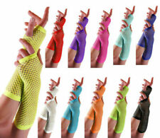 Neon 80s Fingerless Fishnet Pink Black Red Fancy Dress Goth Long Short Gloves
