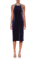 S.L. Fashions Women's Velvet Beaded Trim Dress $119 Size 16 # 7B 348 Blm
