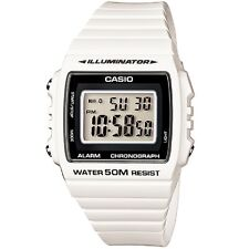 W-215h-7a White 50m Casio Watch Unisex Digital Alarm Chronograph Resin Band