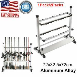 Aluminum Alloy 24 Rods Rack Fishing Rod Pole Holder Stand Storage Portable