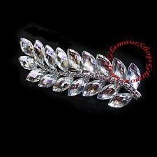 Diamante Crystal Silver Tone Leaf Design Hair Clip Beak Classic Wedding Style