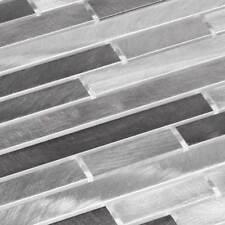 Aluminio Metal Mosaico Azulejos Mosaico de metal Palillos CEPILLADO GRIS PLATA