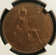 GREAT BRITAIN UK England 1 penny 1908 NGC MS 63 RB UNC