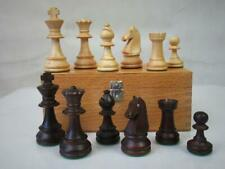 VINTAGE CHESS SET FRENCH CHAVET ? WEIGHTED STAUNTON  K 82 mm  ORIG BOX NO BOARD