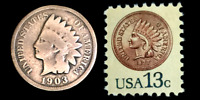 Indian Head Penny **100 Years Old** & Unused 1877 Stamp Great piece of History!
