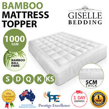 Pillow Top Mattress Topper 1000GSM Bamboo Fully Fitted Skirt Protector ALL SIZES