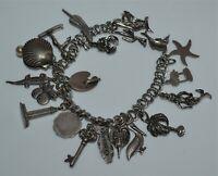 Vintage Sterling Silver Charm Bracelet 20 Charms Florida Travel Water Mermaid