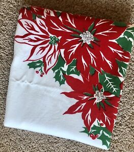 """Vintage Poinsettia Christmas Tablecloth 50"""" by 56"""""""