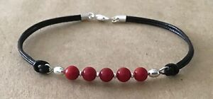 Red Coral Beads, Black Leather Cord, Silver Plated, Charm Friendship Bracelet