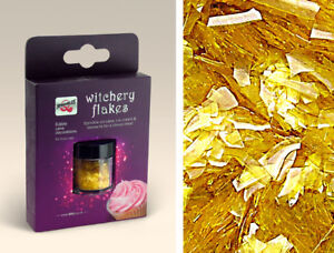 Gold Glitter Flakes Natural Cake Decorations Edible Toppers Gluten Sugar Free