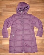 Womens Large Lands' End Jacket Coat Goose Down puffer Purple Long Lands End EUC