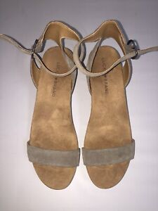 LUCKY BRAND NEW Suede Gray Wedge Sandals  Suede Slide In Ankle Strap Size  8M