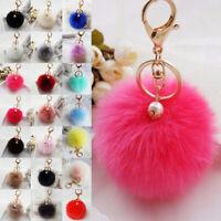 Fluffy Rabbit Fur Pompom Ball Pearl Keyring Handbag Pendant Accessories Keychain