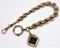 Antike Uhrenkette Gold Double Anhänger Ritter Medaillon Watch Chain  (BN)