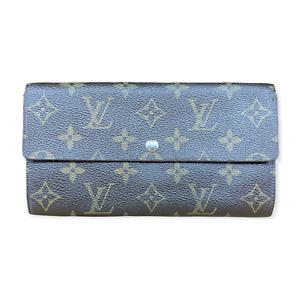 LV3118 LOUIS VUITTON Brown Monogram Canvas Leather Sarah Long Envelope Wallet