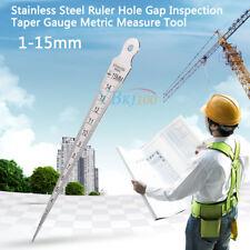 Stainless Steel Ruler Hole Gap Inspection Taper Gauge Metric Measure Tool 1-15mm