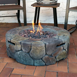 """Sunnydaze Cast Stone Outdoor Propane Gas Fire Pit with Cover & Lava Rocks - 30"""""""