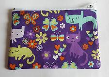 Cute Colourful Cats Fabric Handmade Zippy Coin Purse Storage Pouch