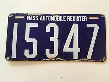 "1906 Massachusetts Automobile Register License Plate Porcelain ""VG"" First Issue"