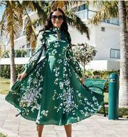 AUTH TED BAKER JHENNI Graceful satin midi dress Green, Size: 5