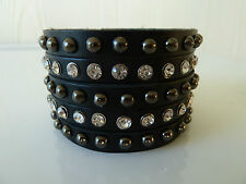 Womens biker/skull/gothic leather black bracelet / wrist band