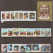 Laos Sc 546/583 MNH. 1984 issues, 3 cplt sets, PAINTINGS, SPACE, AUTOS